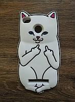 Объемный 3d силиконовый чехол для Xiaomi Redmi 4a Белый кот