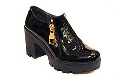 Большой размер туфли лаковые кожаные женские на каблуке Eterno Zip Black Lack BS by Rosso Avangard черные