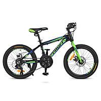"""Детский велосипед на алюминиевой раме Profi Hardy 20 дюймов ( рама 12"""") черно-салатовый"""