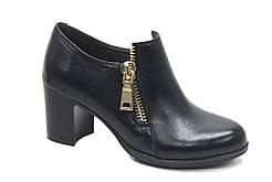Большой размер туфли черные женские на каблуке Eterno Zip Black Lether BS by Rosso Avangard