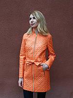 Женская весенняя длинная куртка с поясом, персиковая