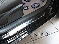 Защита порогов - накладки на пороги Volkswagen POLO IV 5-дверка с 2001-2009 гг. (Premium)