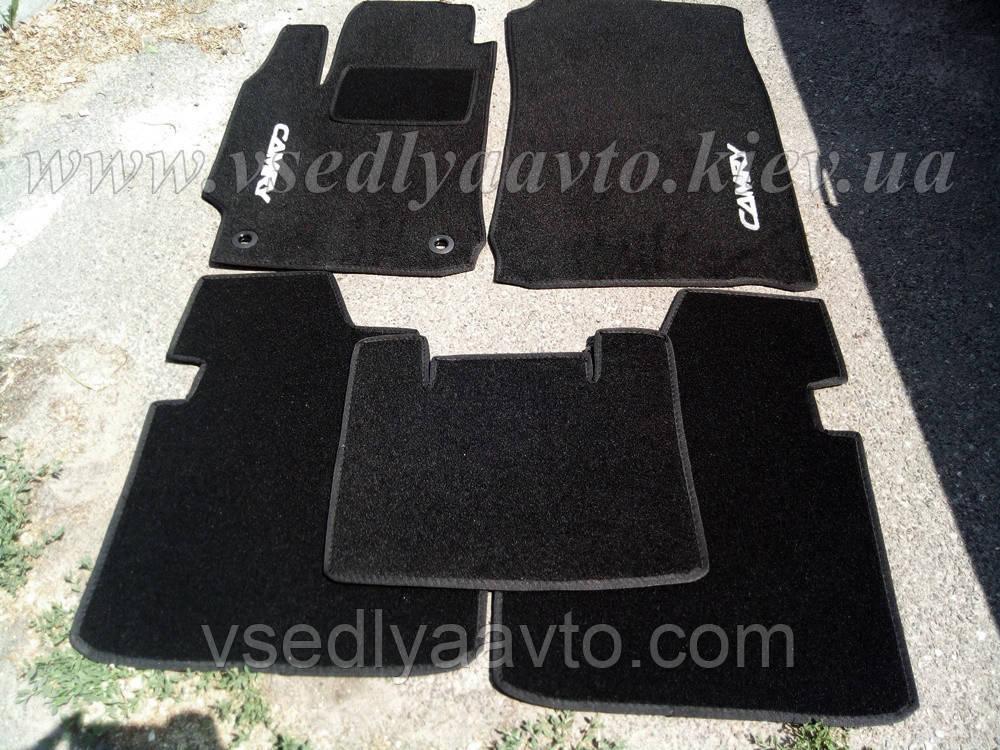 Ворсовые коврики в салон Тойота Camry v50 с 2011 г. (Черные)