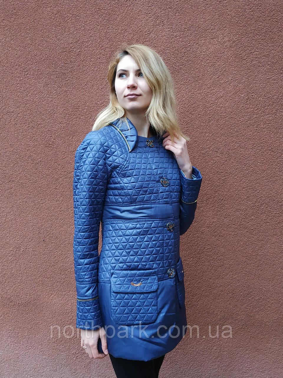 Женская весенняя приталенная куртка, синяя