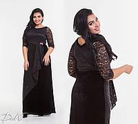Сногшибательное вечернее  длинное платье макси больших размеров до 56-го черное