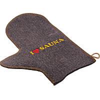 Рукавичка для бани и сауны с вышивкой Saunapro (A-023)