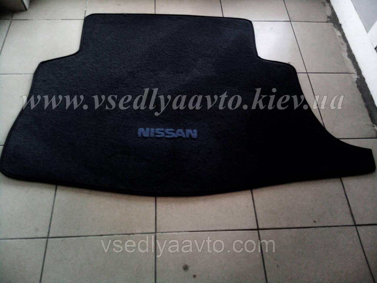 Ворсовый коврик в багажник Nissan Ieaf  (Черный)