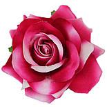 Головка розы раскрытая бархатная малиновая.  10см, фото 2