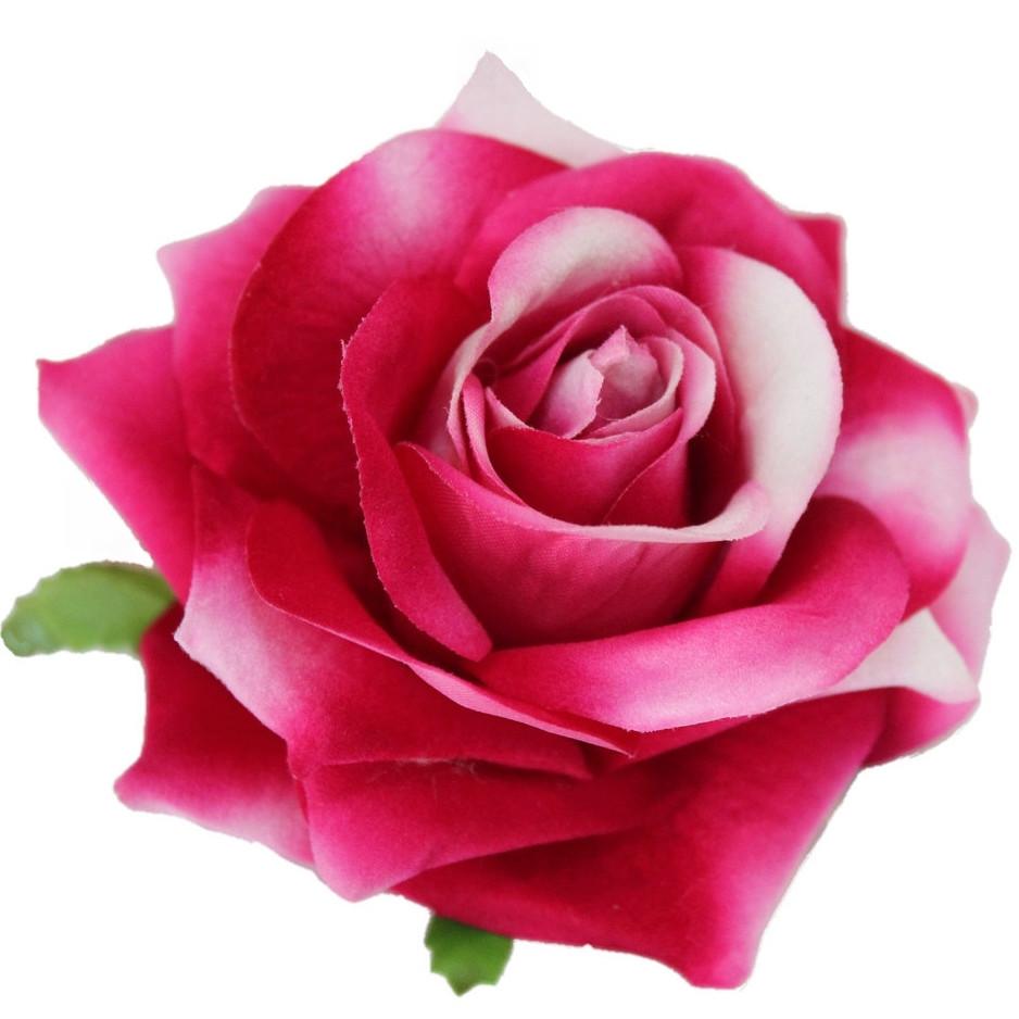 Головка розы раскрытая бархатная малиновая.  10см