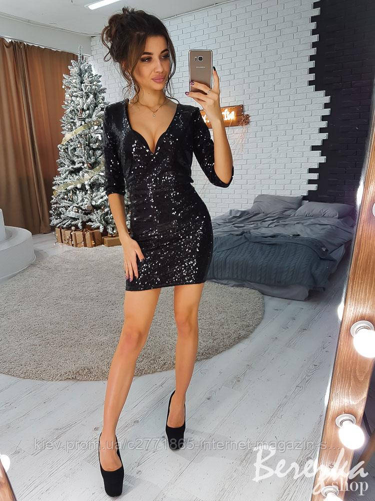 136322ae72e Черное платье мини с запахом и пайетками  продажа