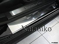 Защита порогов - накладки на пороги Mercedes ML Class W164 с 2005-2011 гг. (Premium)