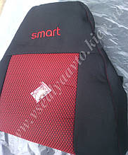 Автомобильные чехлы на сидения SMART Fortwo 450 (черно-красные)
