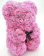 Мишко з рожевих 3D троянд з фатином 25 см ведмідь Тедді в подарунковій упаковці Рожевий