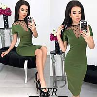 Платье футляр длинна 1 метр сеточка горох декольте купить 42 44 46 48 50 Р, фото 1