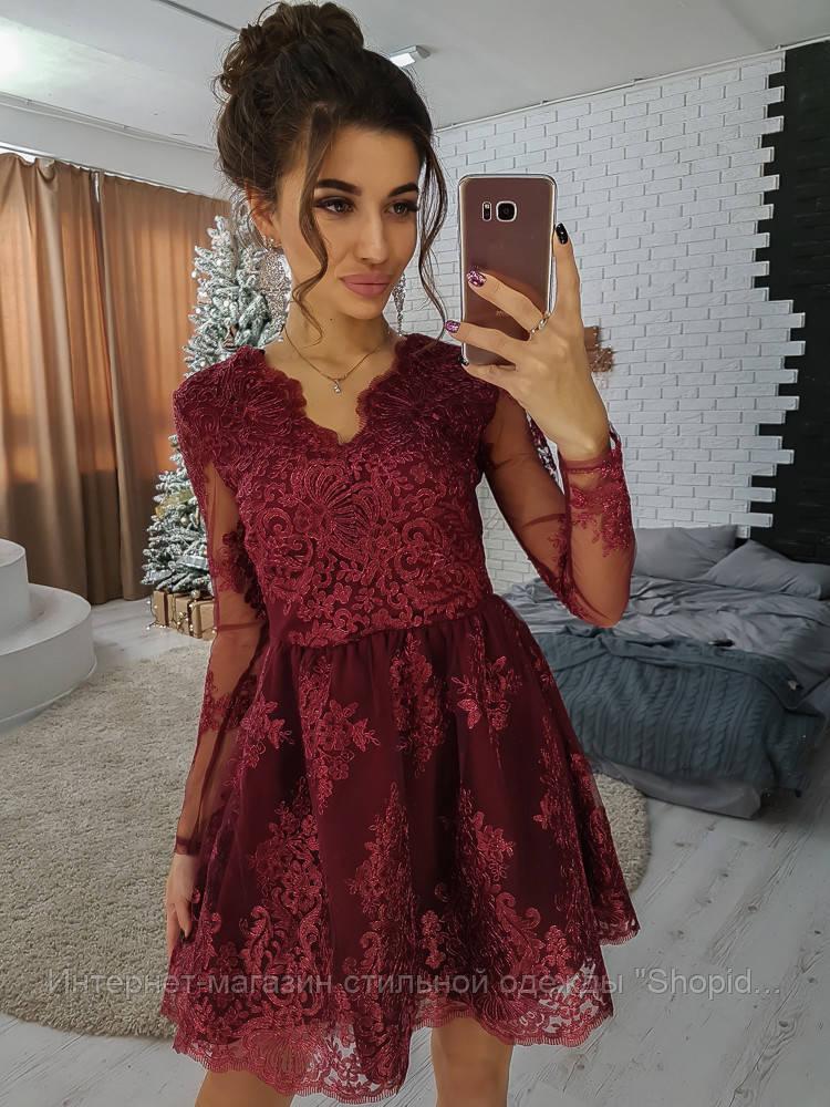 73ac7fb8e02 Бордовое короткое приталенное платье из кружева  продажа
