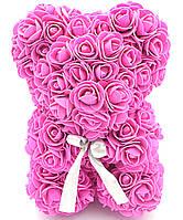 Мишко з 3D троянд 25 см ведмідь Тедді в подарунковій упаковці Малиновий