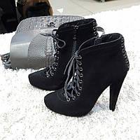 Ботинки женские демисезонные весна-осень из натуральной замши на каблуке черные 35, фото 1