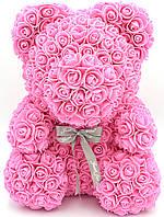 Мишко з 3D троянд ведмідь Тедді в подарунковій упаковці 40 см Рожевий