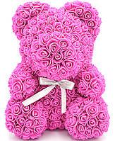 Мишка из 3D роз медведь Тедди в подарочной упаковке 40 см Малиновый