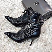 Ботинки женские демисезонные весна-осень из натуральной кожи на каблуке черные 40, фото 1