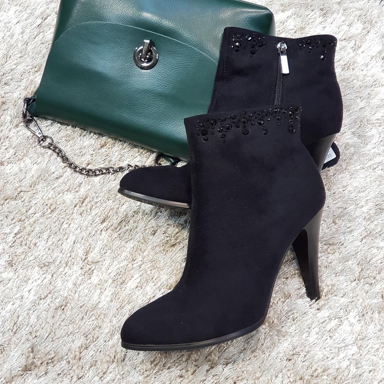 Ботинки женские демисезонные весна-осень на каблуке из искусственной замши черные 40