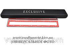 Защита порогов - накладки на пороги Chevrolet EPICA с 2006- (Premium Карбон)