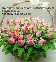 """Шикарный конфетный букет из бутонов роз """"Феерия в круглой корзине""""№41"""