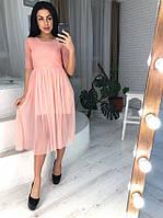 278fa0f2220b7f8 Платье женское нежное миди верх сетка в ромбы и пышная юбка плиссе разные  цвета Smol3007