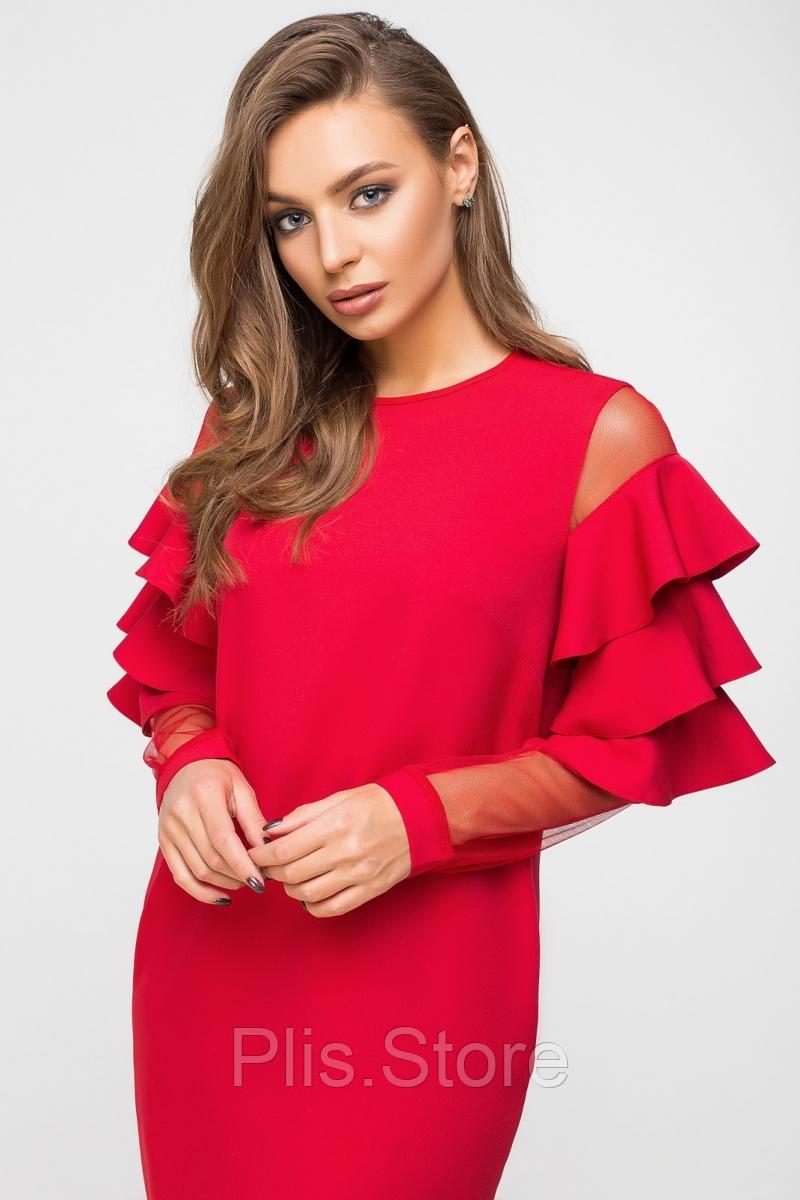 e4b3143d170 Стильное красное платье с воланами на рукавах и карманами из костюмной  ткани и сетки. 5967