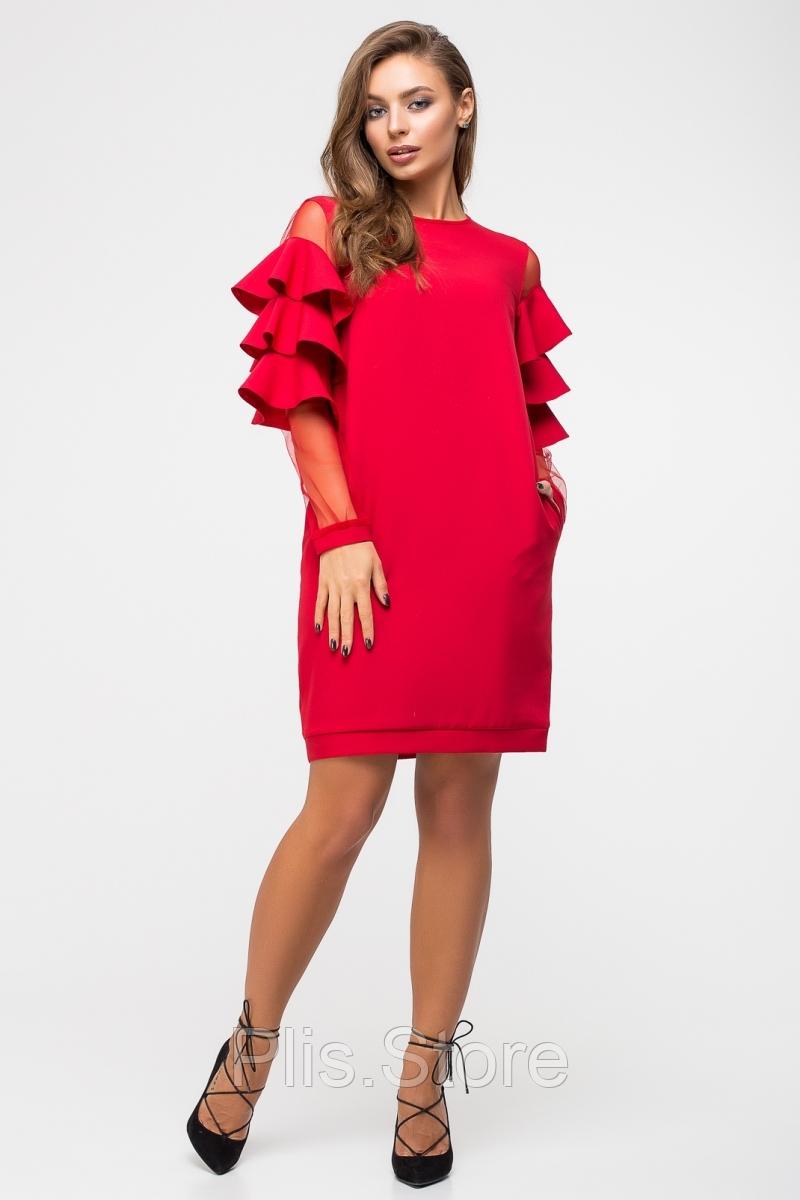 150d8364ed9 Стильное красное платье с воланами на рукавах и карманами из костюмной  ткани и сетки.