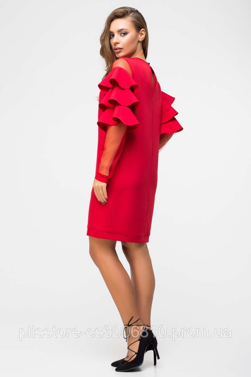 ee72f8ace83 5967 Стильное красное платье с воланами на рукавах и карманами из костюмной  ткани и сетки. 5967