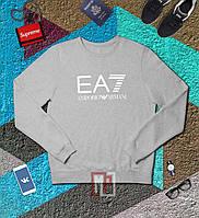 Мужской спортивный серый свитшот, кофта, лонгслив, реглан Emrorio Armani, Реплика