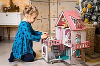 """Кукольный домик NestWood """"МИНИ КОТТЕДЖ"""" для кукол LOL (ЛОЛ) , 5 комнат (этаж 20см) + Мебель 9 ед."""