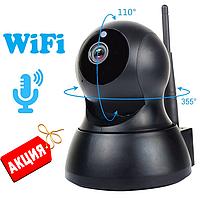 Беспроводная поворотная, управление с телефона IP камера WiFi microSD ночная съемка, видео няня, черного цвета
