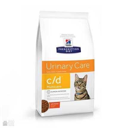 Хиллс c/d диета с курицей для котов лечения циститов 1,5 кг — в.