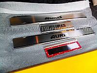 Защита порогов - накладки на пороги Тойота AURIS 5-дверка с 2013 г. (Premium)