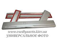 Защита порогов - накладки на пороги Тойота AYGO 5-дверка с 2005 г. (Premium)