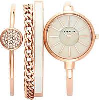Часы в подарочной упаковке watch set ANNE KLEIN Roze Gold white