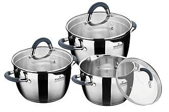 Набор посуды нержавеющий Maxmark - 3 шт. (2 x 3 x 4 л)