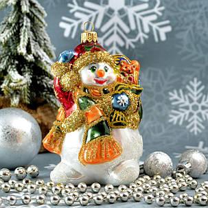 Набор стеклянных елочных игрушек Снеговик с подарками и елка Irena, фото 2