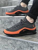 Мужские весенние кроссовки в стиле Nike Air Max 97 QS (black/orange), Реплика ААА