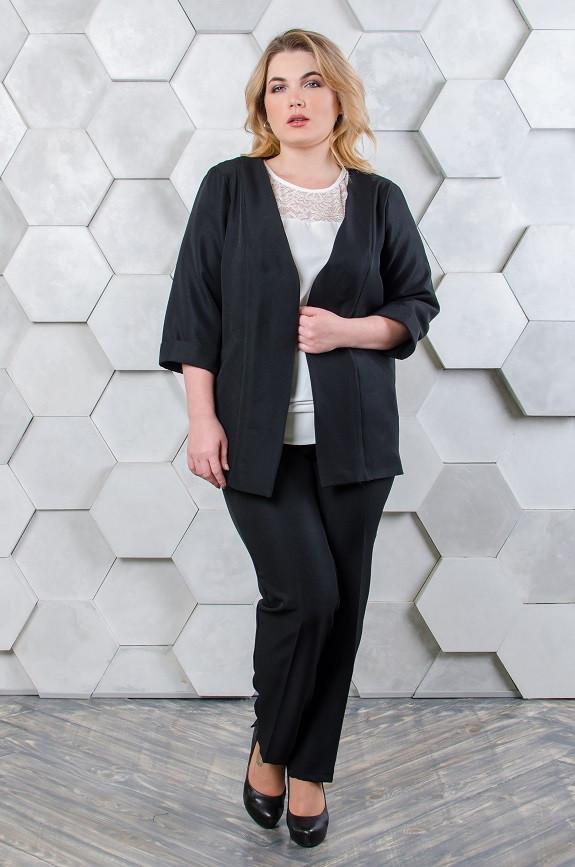 Классический женский костюм  размер плюс жакет+брюки Джуди черный (52)