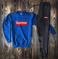 Мужской спортивный костюм Supreme синего и черного цвета (люкс копия)