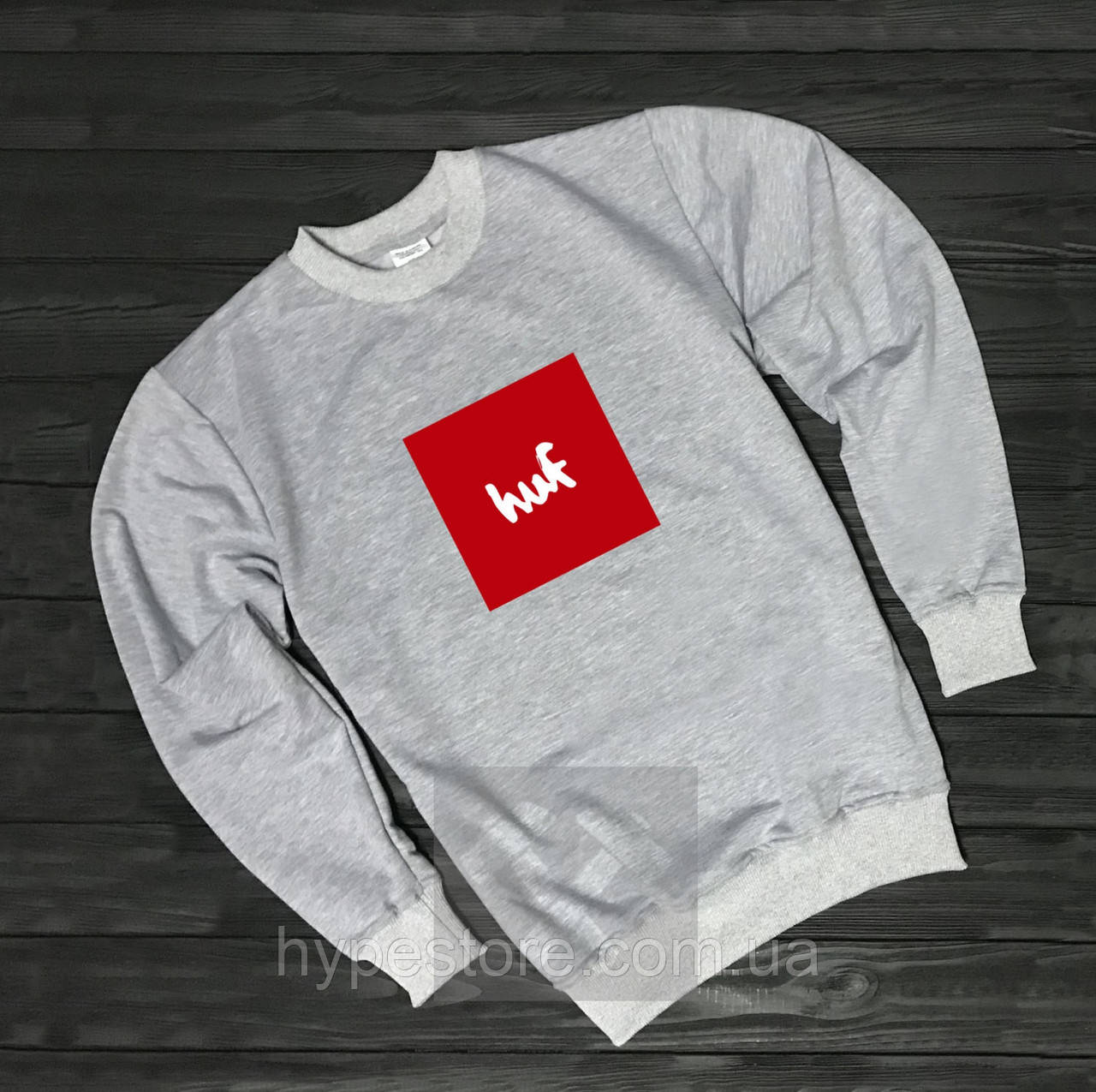 Мужской спортивный серый свитшот, кофта, лонгслив, реглан Huf (красный лого), Реплика