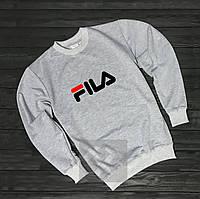Мужской спортивный серый свитшот, кофта, лонгслив, реглан Fila (крупный лого), Реплика