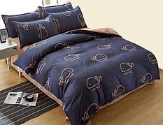 Постельное белье полуторное ТЕП Washed Cotton Blue whale