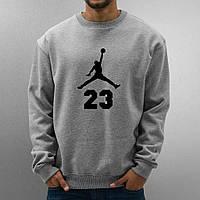 Мужской спортивный серый свитшот, кофта, лонгслив, реглан Jordan 23, Реплика
