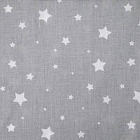 ✁ Отрезы поплина Звездочки разных размеров на сером, фото 1