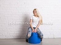 Пуфик кресло бочек голубого цвета