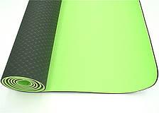 Килимок для тренувань йоги та фітнесу двошаровий Йога мат ТРЕ TC 173х61 см товщина 6 мм Чорно-зелений